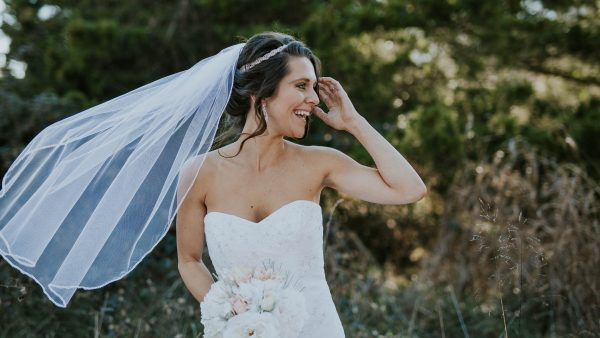 woman wearing wedding veil
