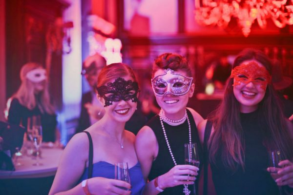 Hen Party, three women in masks