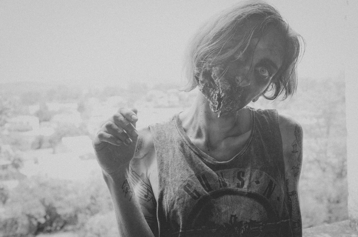 zombie in greyscale, unusual stag do activities