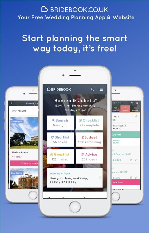 Bridebook app on phone advert.  6 Wedding Apps you need to plan your big day